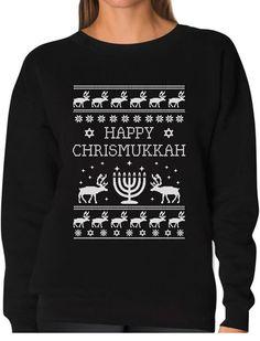 TeeStars - Happy Chrismukkah Funny Ugly Christmas / Hanukkah Women Sweatshirt *** For more information, visit image link.