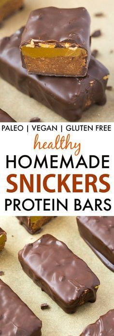 Healthy Homemade Snickers Bars (V GF P DF)- Quick easy no bake low carb snickers protein bars recipe using just 5 ingredients and ready in minutes- With or without protein powder! {vegan gluten f (Low Ingredients) Snickers Protein Bar, Paleo Protein Bars, Protein Bar Recipes, Homemade Protein Bars, Protein Cookies, High Protein, Protein Muffins, Protein Cake, Protein Foods
