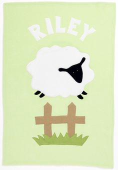 Admiral Road Personalized Green Sheep Baby Blanket