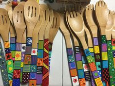 Large Cooking Spoons -Hand-painted Large Cooking Spoons - Global Folk Sticks your choice of pattern Handmade Tile Wall Wooden Spoon Crafts, Wood Crafts, Diy And Crafts, Arts And Crafts, Spoon Art, Wood Spoon, Painted Spoons, Hand Painted, Cooking Spoon