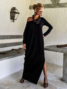 Black Maxi Dress Kaftan with Black See-Through Detail / Asymmetric Open Back Dress / Oversize Loose Dress / #35098