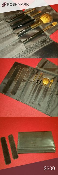 Chanel Makeup Brushes and Pouch Brush No's: 3, 2, 4, 7 and 11 are included. Brush numbers 3 and 11 are previously used. Makeup pouch has 2 zip side pockets and closes with a magnetic closures. Preowned. Pouch has glitter makeup that can be cleaned. Includes 2 makeup covers (used). CHANEL Makeup Brushes & Tools