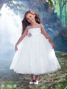 Disney Blossoms Style 725 (front): tea length flower girl dress in net and satin featuring satin flowers, rhinestones, crystal beading and sequins