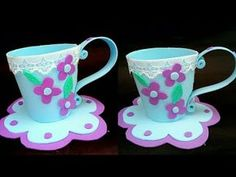 Tea Party Crafts, Craft Party, Foam Crafts, Diy And Crafts, Sunday School Activities, Mugs, Tableware, Youtube, How To Make