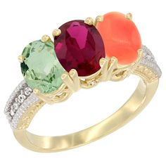 10K Yellow Gold Natural Green Amethyst, Enhanced Ruby and Natural Coral Ring 3-Stone Oval 7x5 mm Diamond Accent, sizes 5 - 10 ** Additional details at the pin image, click it  : Jewelry Ring Bands