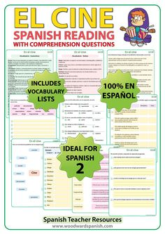 Spanish Reading Passage with Worksheets about four friends that like to go to the movies/cinema. Lectura acerca del cine con preguntas de comprensión.