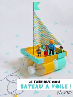 A shoebox lid, two bottles of water, a skewer pick, fabrics and vogue little boat! Discover step by step how to make a boat that floats on water for toys. Arts And Crafts For Kids Easy, Projects For Kids, Diy For Kids, Kids Crafts, Diy And Crafts, Craft Projects, Shoebox Crafts, Nanny Activities, Craft Activities
