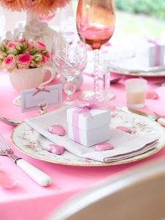 "Inspiration photo in pink and white. Of course I love this little 2""x2""x2"" white favor box tied up with simple pink ribbon and evidently filled with pink chocolate hearts (yum). But look how nicely it fits with this table setting."