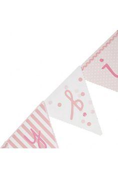 Banderole Guirlande Fanions Rose Anniversaire Petite fille bébé - déco chic vintage rétro