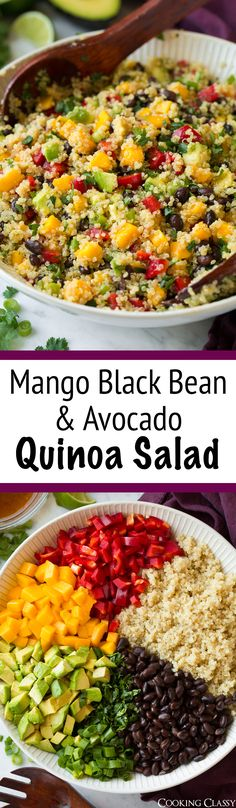 Black Bean Salad with Mango amp; Avocado Mango Black Bean and Avocado Quinoa Salad - This is sooo good! Perfect side to grilled chicken or fish.Mango Black Bean and Avocado Quinoa Salad - This is sooo good! Perfect side to grilled chicken or fish. Avocado Quinoa, Quinoa Salat, Quinoa Rice, Quinoa Avocado Salad, Grilled Avocado, Avocado Fries, Chicken Avacado Salad, Quinoa Bean Salad, Summer Salads