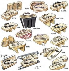 The different styles for the Japanese traditional sandals (geta) that allow for variety in options when incorporating the shoes. Design Reference, Art Reference, Japanese Costume, Drawing Clothes, Japanese Outfits, Yukata, Japan Fashion, Kimono Fashion, Kimono Outfit