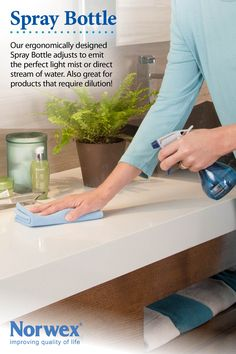 Norwex Spray Bottle:  Convenient and compact Spray Bottle used for spraying water on windows, floors, walls, and all surfaces to be cleaned. Use with the Norwex mops to spray more water if necessary when mopping. www.norwex.biz