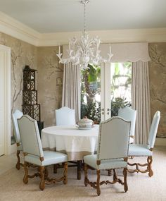 We love this Dining Room! @graciestudio panels wrap you in a grove of flowering trees. The custom @victoriaandson étagère 'Duchess of Windsor' is our favorite, just perfect for this room! Custom curtains and valance in @sabinafaybraxton trimmed in @schumacher1889 We covered the client's own is de mouton chairs in a pale pale aqua from @jrobertscott with @houles_paris nailhead trim. Custom linens from Leta Austin Foster Boutique.  #letaaustinfoster #palmbeachinteriors #palmbeachdecorator…