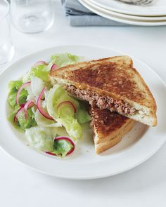Patty Melt with Pickled Onion Salad | Martha Stewart Living - A diner favorite, plus an easy red-onion salad, makes for an easy and economical dinner.