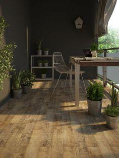 terrasse extérieure avec carrelage imitation bois