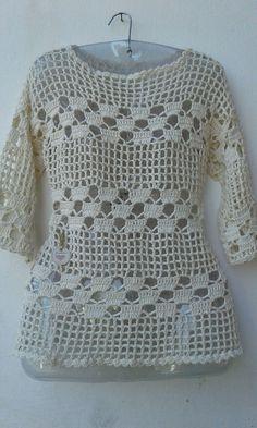 Blusa/Túnica croche no Crochet Vest Pattern, Crotchet Patterns, Crochet Cardigan, Top Pattern, Crochet Stitches, Knitting Patterns, Unique Crochet, Easy Crochet, Crochet Top