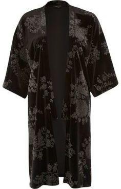 River Island Black metallic print velvet kimono on shopstyle.co.uk