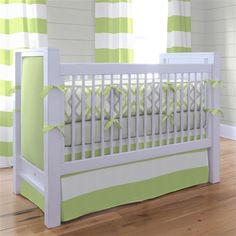 The kiwi green is so bright and cheerful! Kiwi and Gray Winston Baby Crib Bedding by Carousel Designs. #BabyGirl #CarouselDesigns @carouseldesigns