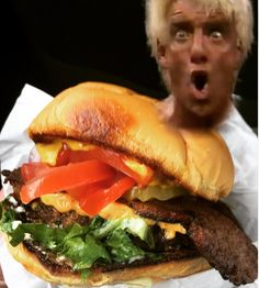 Wooo! that's a great bac'n chz burger! If you're headed to @sxsw stop by @arlostruck and pick up this beast!!! Thanks guys!!! @dixie_dharma #vegan #veganhotdog #sxsw #veganfoodtruck #veganfoodshare #ricflair #austin #keepaustinweird #orlandodoesntsuck #vegansofinstagram #foodporn #foodie #wrestling #wwf #veganfood by veganhotdogcart