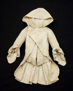 Hooded jacket, 1745-1760, Linen, Metal, Silk satin, Snowshill Wade Costume Collection, Gloucestershire
