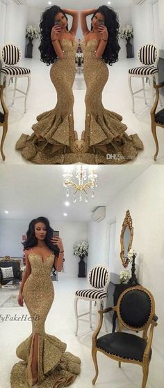 Luxurious Mermaid Long Straps Gold Sequins Prom Dress with Side Slit - Thumbnail 2
