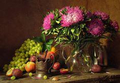 Ainda vida com ásteres e frutas