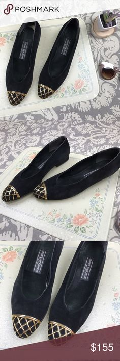 Stuart Weitzman Black Suede Caged Toe Low Heels, 9 Stuart Weitzman Black Suede Gold Caged Pointy Toe Low Heel Pumps, Size 9. Great gently loved condition, no major flaws. Small 3/4 inch heel and super soft velvety outsoles. Insoles need to be reattached. Stuart Weitzman Shoes Flats & Loafers