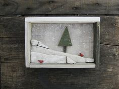 "Repurposed Upcycled Rustic Painted Shadow Box Wood Frame with Pine Tree Snowy Hills Red Cardinals, ""Falling, Falling, Fly"""