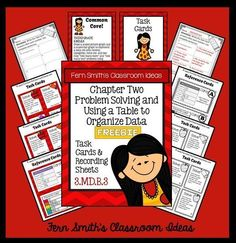 #FREE Problem Solving and Using a Table to Organize Data Task Cards, Recording Sheet and Answer Key with a Cute Kid at School Theme #TPT $paid