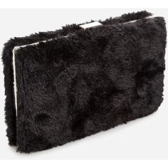Ashley Stewart Faux Fur Box Clutch Black (€11) ❤ liked on Polyvore featuring bags, handbags, clutches, chain handle handbags, chain strap purse, hard clutch, faux-leather handbags and faux purses