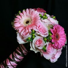 Round Bouquet: Pink & Hot Pink Gerberas, Pink Roses, & Green Hypericum, Hand Tied With Pink & Black Satin Bouquet Ribbons<<<<