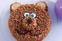 Coco-pops teddy bear birthday cake, could make into a monkey. Teddy Bear Birthday Cake, Teddy Bear Cakes, Birthday Cakes, Teddy Bears, 3rd Birthday, Birthday Ideas, Birthday Parties, Fondant, How To Make Icing