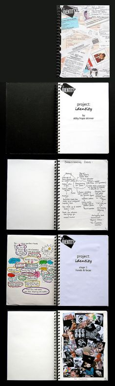 These A Level Art sketchbook pages show Abby's initial brainstorming and investigation into the theme 'Identity'. Mind maps and collages of photographs and other paper documents serve to collect, arrange and organise ideas.