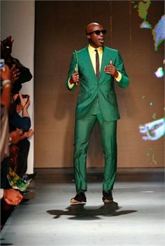 Ozwald Boateng in a fabulously loud green suit! Work! #mensfashion