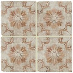Merola Tile Costa Arena Decor Fleur Encaustic in. Ceramic Floor and Wall Tile sq. / - The Home Depot Wall And Floor Tiles, Wall Tiles, Room Tiles, Tile Art, Tile Stairs, Spanish Tile, Tile Projects, Stone Tiles, Neutral Tones