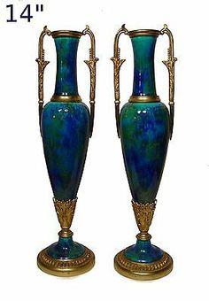 Antique Art Deco French Paul Milet PM MP Sevres Blue Flambe Porcelain Vases 1920 | eBay