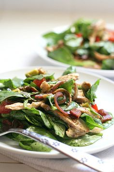"""Looks delish! BLT Chicken Salad with Warm Bacon Dressing!....I would of course leave out the """"T""""...."""