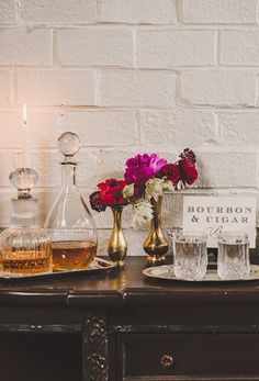 A bourbon & cigar bar at this Swanky Engagement Shoot styled for The Not Wedding - www.theperfectpalette.com - Jason Hales Photography