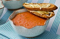 Roasted Tomato Soup with Cheesy Croutes Recipe - Kraft Canada Roasted Tomato Soup, Roasted Tomatoes, Roasted Vegetables, Kraft Recipes, Cooking Recipes, What's Cooking, Chicken Soup Recipes, Cheese, Cooking