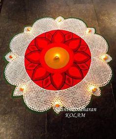 #kolam#rangoli#net#lace#red#white#lines#mandala