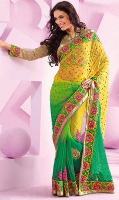 Classic Green and Yellow Net Party Wear Saree - IG9016 USD $ 102.09