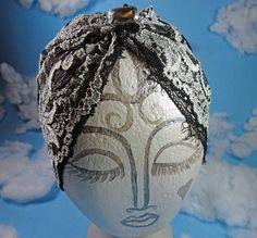 Black Grey Boho Lace Turban Headband adult lace by omeforever