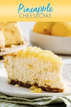 Graham cracker crust, cream cheese filling, and a Dole Crushed Pineapple topping make our Pineapple Cheesecake recipe the crave-able summer dessert pin you'll keep coming back to. Pineapple Cheesecake, Lemon Cheesecake Recipes, Baked Pineapple, Pineapple Dessert Recipes, Lemon Recipes, Crushed Pineapple, Cheesecake Desserts, Raspberry Cheesecake, Pear And Almond Cake