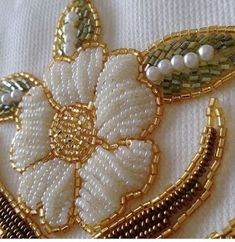 This Pin was discovered by Deb Zardosi Embroidery, Pearl Embroidery, Hand Embroidery Flowers, Tambour Embroidery, Hand Work Embroidery, Couture Embroidery, Bead Embroidery Jewelry, Bead Embroidery Tutorial, Bead Embroidery Patterns