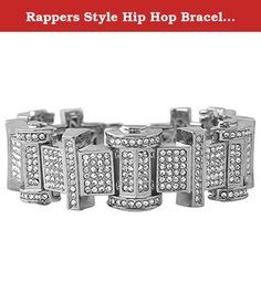Rappers Style Hip Hop Bracelet in Rhodium. Rappers Style Hip Hop Bracelet in Rhodium. This rhodium hip hop bracelet is unique and looks amazing. Covered in faux diamond crystals that shine bright and look expensive, but still affordable. Features the caged back links for added comfort and style. Perfect to ice out any mans wrist. Celebrities, rappers, and hip hop artists wear bling bling bracelets. Here is your chance to get this iced out bracelet at an affordable price.