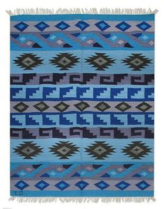Wool rug, 'Blue Inca Empire' (4x5.5) by NOVICA
