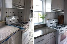 Before and After DIY feather finish concrete over tile counters Concrete Countertops Over Laminate, Tile Counters, Cement Counter, Laminate Countertops, Wood Laminate, Kitchen Countertops, Kitchen Cabinets, Backsplash, Cheap Kitchen Appliances