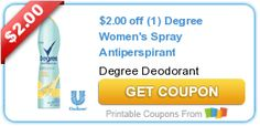 $2.00 off (1) Degree Women's Spray Antiperspirant