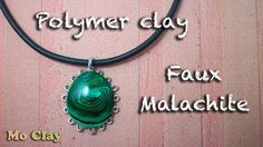 Faux Malachite polymer clay tutorial - cabochon frame by MoClay