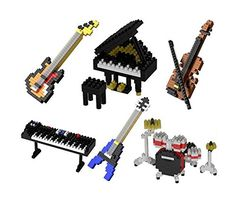 Musical Instruments Nanoblock Style Micro Building Blocks 6 Piece Set Drums Piano Keyboard Violin Guitar and Bass <3 View the STEM educational item in details by clicking the image